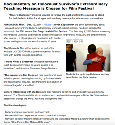 Press release sample showing image of Irene Butter, Holocaust Survivor, with students who are hugging her after a school speech; by Lindsay Passmore of inspire:connect media.