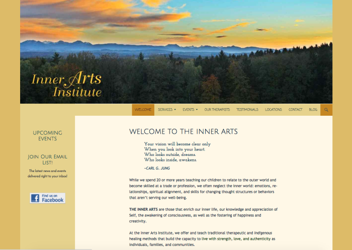 website design portfolio sample for a therapist, the Inner Arts Institute